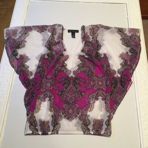 INC Macy's mesh butterfly top with stud detail